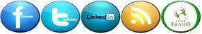 IdahoWiFi Social Media Icon Links FaceBook Twitter LinkedIn RSS LinkIdaho